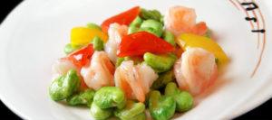 空豆と海老の塩炒め
